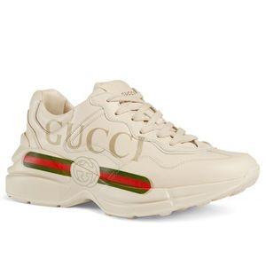 Men's Rhyton Gucci Logo Leather Sneaker
